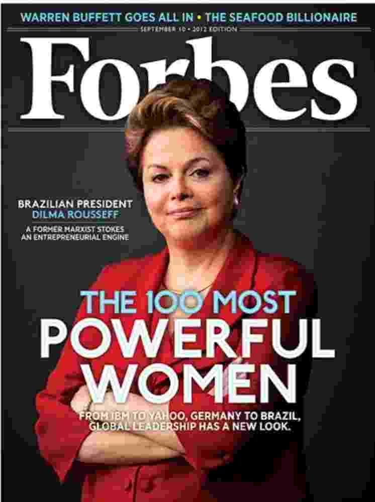 22.ago.2012 - Capa da edição de setembro da revista Forbes, com as mulheres mais poderosas do mundo, traz a presidente brasileira Dilma Rousseff. No ranking, Dilma segue como a terceira mulher mais poderosa do mundo, a mesma posição de 2011, atrás da chanceler alemã Angela Merkel (2º) e da secretária de Estado americano, Hillary Clinton (1º) - Divulgação