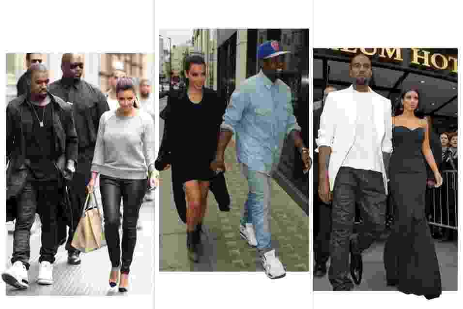 """A socialite Kim Kardashian e o rapper Kanye West assumiram o namoro em abril deste ano. Desde então, o estilo dos dois vêm se alinhando. De """"periguete"""", ela passou a usar looks minimalistas e mais sofisticados. Os vestidos justinhos permaneceram em seu guarda-roupa, mas agora são mais comportados e não mostram demais o corpo. Já Kanye West continua com seu visual urbano, mas passou a agregar mais peças de alfaiataria. Navegue pelo álbum e veja sugestões looks inspirados no estilo do casal - Brainpix"""