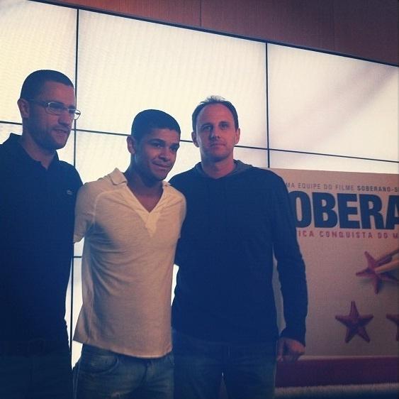Alex Bruno, Denílson e Rogério Ceni no lançamento do filme