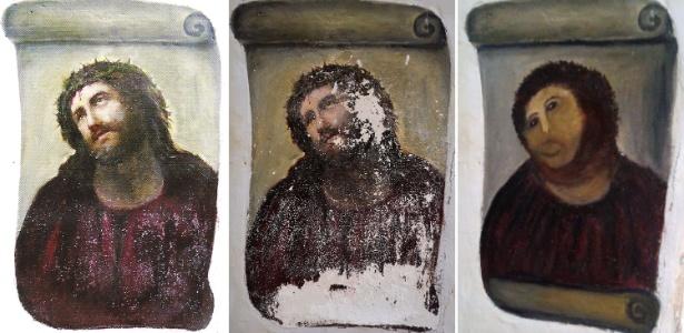 """Três etapas da pintura """"Ecce Homo"""", de Elias Garcia Martinez: a original, a deteriorada pelo tempo e a """"restauração"""" de Cecília Giménez - AFP"""