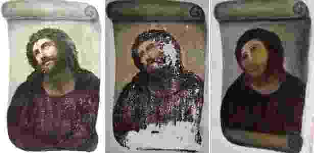 """O antes e depois do obra """"Ecce Homo"""", do espanhol Elías García Martínez, que foi """"restaurada"""" de maneira """"peculiar"""" em 2012, pela espanhola Cecilia Giménez - Reprodução"""