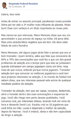 Romário solta o verbo contra Mano Menezes