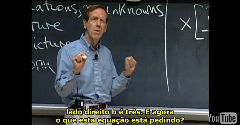 """15º lugar: A aula """"A Geometria das Equações Lineares"""", do curso """"Álgebra Linear"""""""