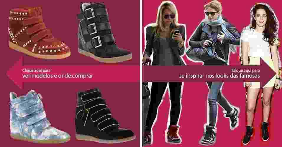 Clique na seta da esquerda para ver modelos de sneakers e na da direita para se inspirar nos looks das famosas - Divulgação