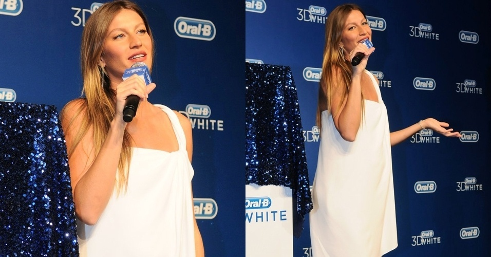 No dia em que confirmou publicamente sua gravidez de cinco meses do segundo filho com o jogador Tom Brady, a top brasileira Gisele Bündchen participa de evento em São Paulo (23/8)