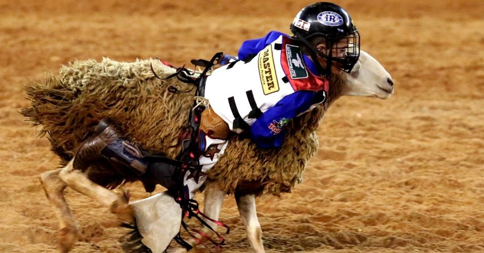 24.ago.2012 - Criança participa de prova de montaria em ovelha no maior rodeio da América Latina. A Festa do Peão de Barretos vai até o próximo domingo (16)
