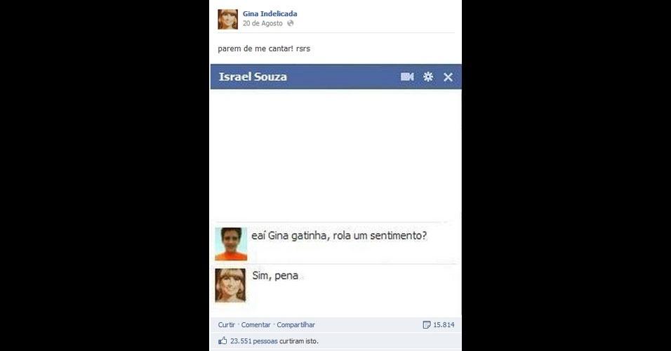 A página 'Gina Indelicada' é um sucesso no Facebook e já tem mais de um milhão de 'curtidas'. Nela, a personagem inspirada na marca de palitos de dente 'Gina' responde as perguntas dos usuários com doses de bom humor. Clique em 'MAIS' para ver outras informações sobre a página