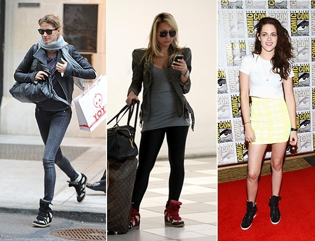 Gisele Bündchen e Sabrina Sato usam o tênis com salto embutido Isabel Marant, já Kristen Stewart foi ao Comic Con usando um modelo Barbara Bui - Brainpix/Agnews/Getty Images