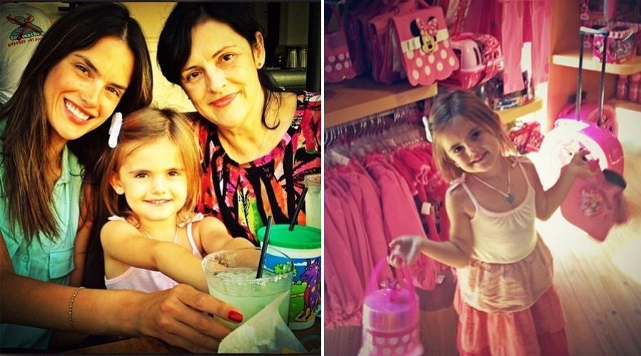 """A modelo Alessandra Ambrósio posa para foto ao lado da mãe e da filha, Anja. A menina, filha da top com Jamie Mazur, completa quatro anos. """"Menina aniversariante"""", escreveu Alessandra em seu Twitter (25/8/2012)"""