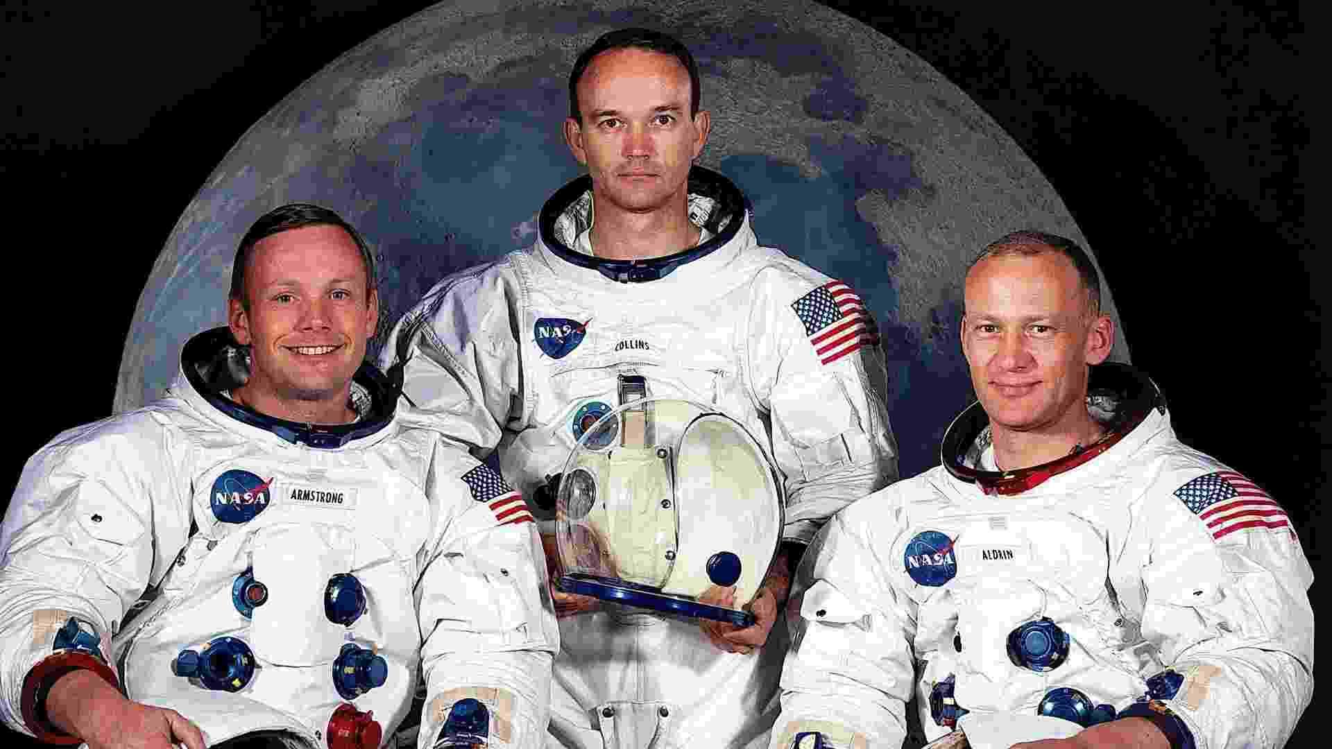 Foto de arquivo da Nasa, tirada em maio de 1969, dos tripulantes da missão Apollo 11. Nela estão: Neil A. Armstrong (e), Michael Colilns © e Edwin Aldrin Jr - EFE/Nasa