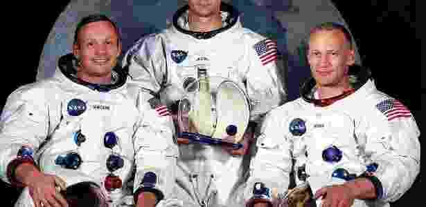 Tripulantes do Apollo 11: da esquerda para direita, Armstrong, Michael Colilns e Edwin Aldrin Jr; <B>clique e veja imagens do astronauta</b> - EFE/Nasa