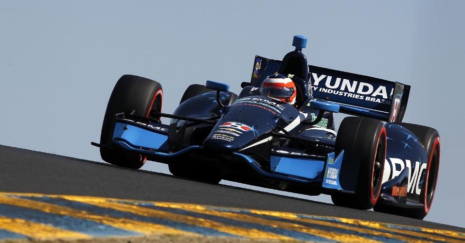Rubens Barrichello em ação durante o classificatório para a etapa de Sonoma
