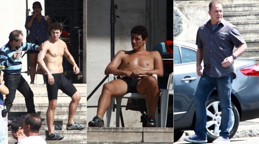 """Sem camisa, Reynaldo Gianecchini gravou cenas do curta-metragem """"Se Puder Dirigir, Dirija"""" no centro do Rio (26/8/12)"""
