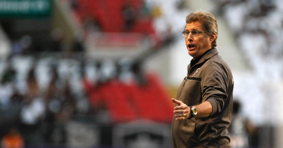 Técnico Oswaldo de Oliveira protesta do banco do Botafogo no clássico