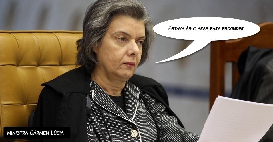 """27.ago.2012 - """"Estava às claras para esconder"""", ironizou a ministra Cármen Lúcia ao comentar que o saque da mulher do réu João Paulo Cunha teria sido feito """"às claras"""""""