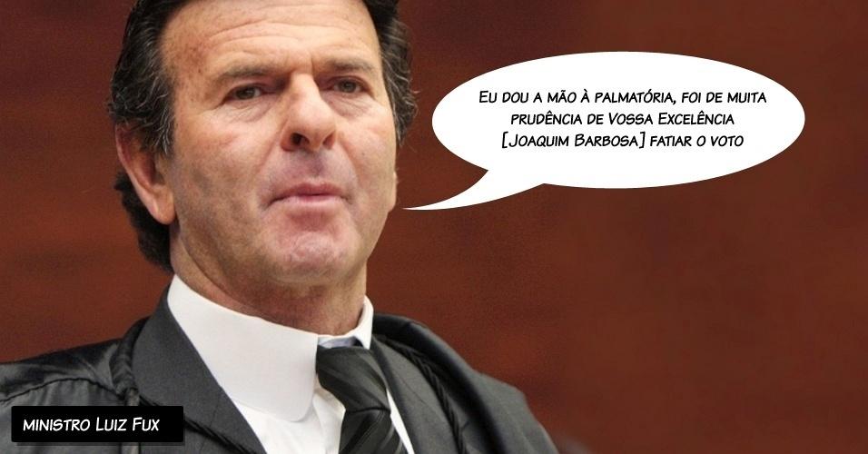 """27.ago.2012 - """"Eu dou a mão à palmatória, foi de muita prudência de vossa excelência [Joaquim Barbosa] fatiar o voto"""", disse o ministro Luiz Fux sobre a metodologia de votação"""
