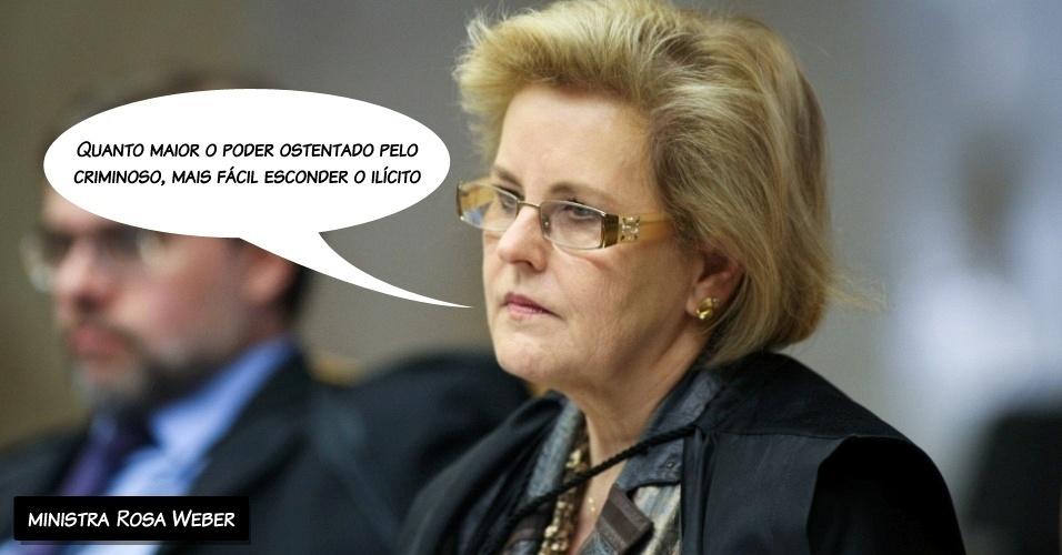"""27.ago.2012 - """"Quanto maior o poder ostentado pelo criminoso, mas fácil esconder o ilícito"""", disse a ministra Rosa Weber ao proferir seu voto"""