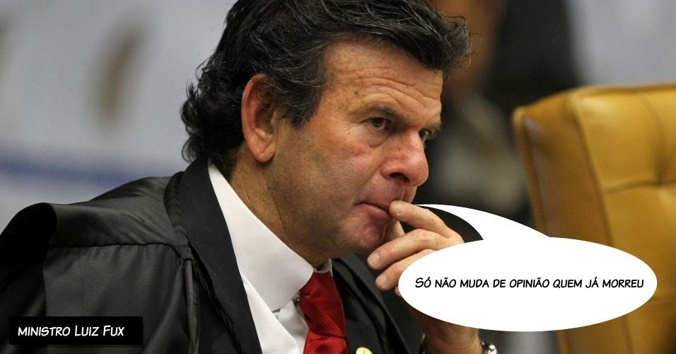 """27.ago.2012 - """"Só não muda de opinião quem já morreu"""", disse o ministro Luiz Fux durante seu voto"""