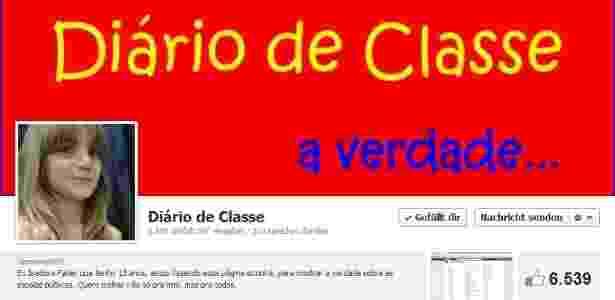 """Reprodução da página """"Diário de Classe"""", criada por estudante de 13 anos de Santa Catarina - Reprodução/Facebook"""