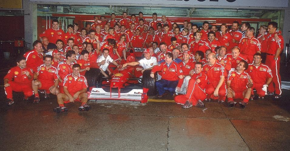 Festa de Michael Schumacher pelo título de 2000