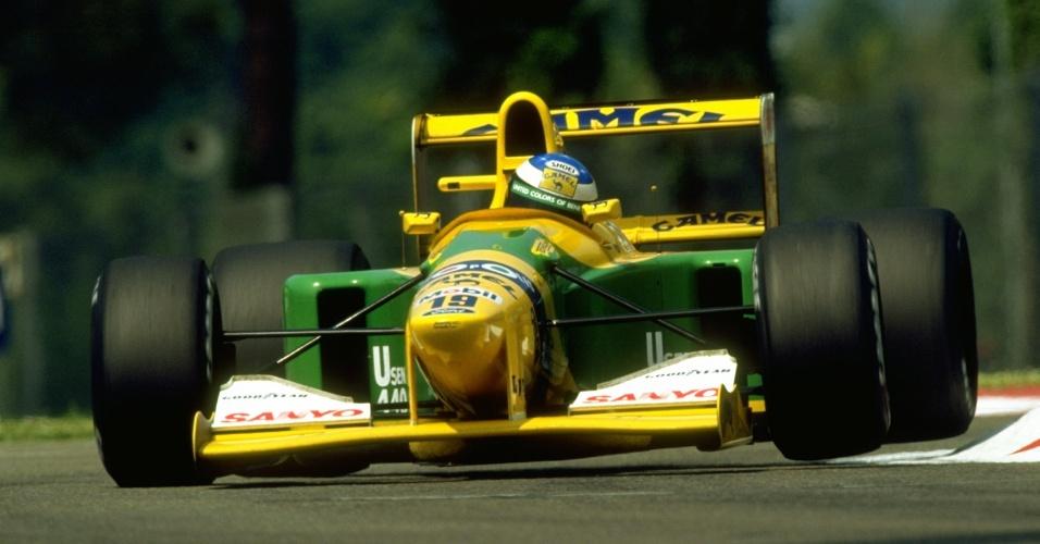 Michael Schumacher em ação no GP de San Marino de 1992
