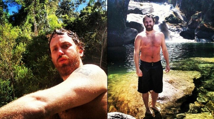Sérgio Hondjakoff divulgou imagens curtindo uma cachoeira (27/8/12)