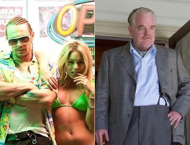 """À esquerda, James Franco e Vanessa Hudgens em """"Spring Breakers""""; à direita, Philip Seymour Hoffman em """"The Master"""""""