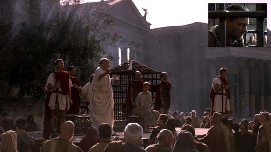 O personagem Tito Pullo, da série Roma, da HBO, é julgado em praça pública. O Direito Romano foi uma marco na história de Roma e seu grau de importância é comprovado pelo fato de que até hoje ele é a base da ciência jurídica de muitos dos povos contemporâneos. Roma foi notável também nos ensinamentos que deixou no campo da política e da administração.