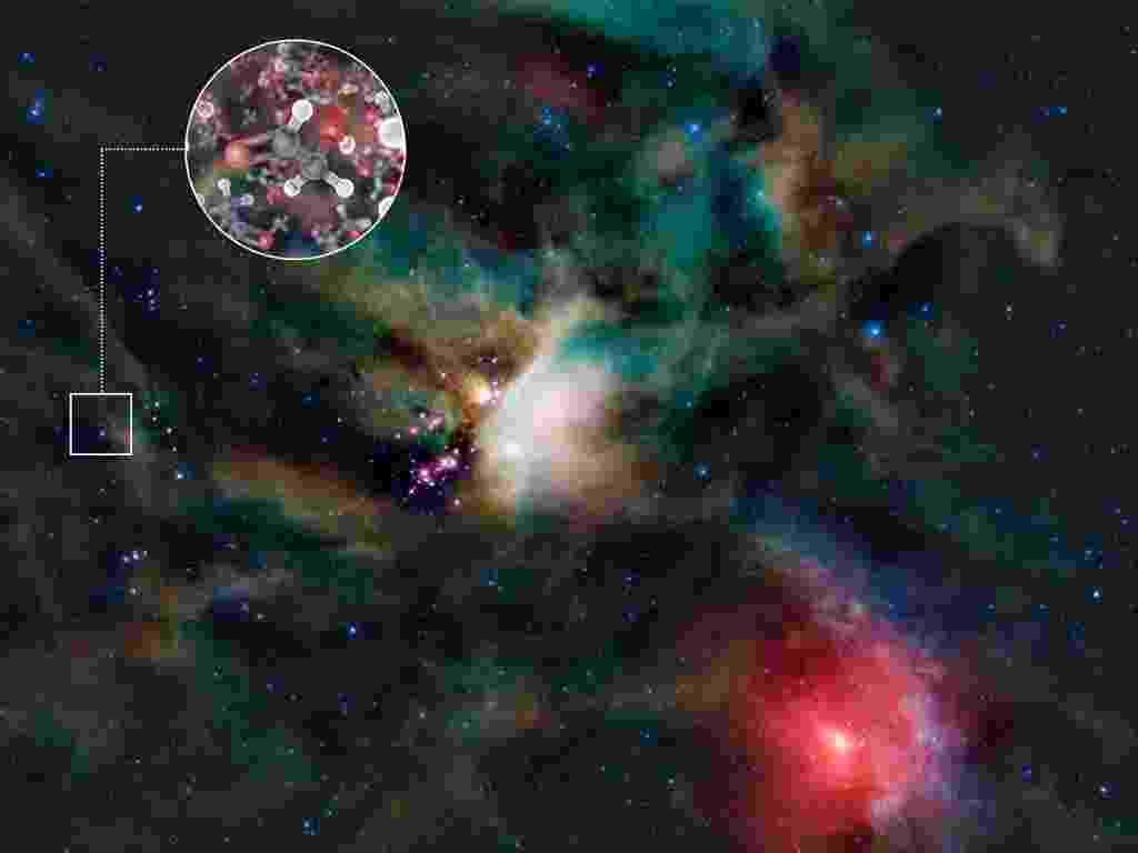 29.ago.2012 - Astrônomos encontraram moléculas de glicoaldeído, um açúcar simples, no gás que rodeia a IRAS 16293-2422, uma estrela binária jovem que possui massa similar a do Sol e está localizada a 400 anos-luz da Terra. A molécula achada é um dos ingredientes na formação do ácido ribonucleico (RNA), um dos ingredientes fundamentais para a vida - ESO