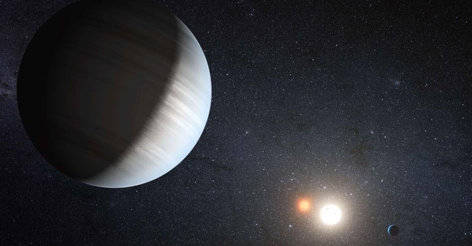 """29.ago.2012 - Cientistas anunciaram a descoberta pela missão espacial Kepler do primeiro sistema circumbinário e multiplanetário, no qual mais de um planeta orbita ao redor de dois sóis. As duas estrelas do novo sistema, batizado como """"Kepler-47"""" e situado a cinco mil anos-luz na constelação do Cisne, orbitam uma ao redor da outra a cada sete dias e meio"""