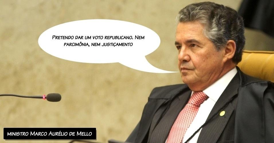 """29.ago.2012 - """"Pretendo dar um voto republicano. Nem parcimônia, nem justiçamento"""", disse o ministro Marco Aurélio de Mello ao proferir seu voto contra os réus"""