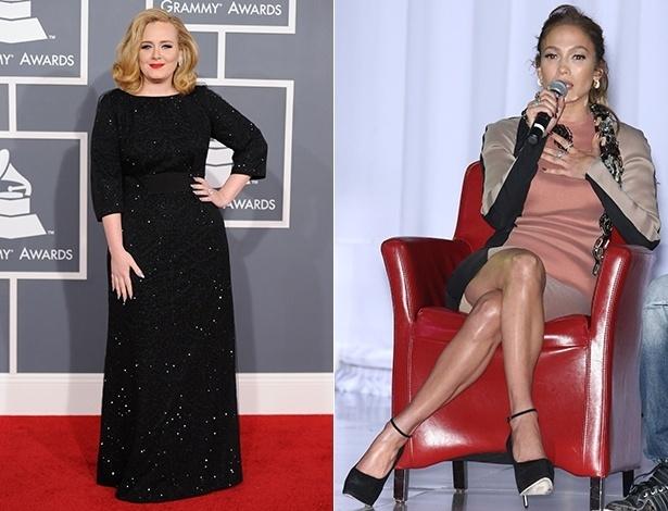 """A cantora Adele contou ter usado sobreposição de """"três ou quatro"""" bermudas modeladoras sob o vestido preto no Grammy; Jennifer Lopez deixa a peça à mostra em cruzada de perna durante coletiva em Hollywood - Getty Images/Brainpix"""