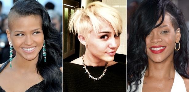Cassie, Miley Cyrus e Rihanna são adeptas do cabelo raspado na lateral  - Getty Images/Reprodução Twitter
