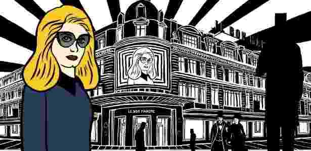 """Catherine Deneuve em frente a """"Le Bon Marché"""" em ilustração de Marjane Satrapi - Marjane Satrapi/Divulgação"""