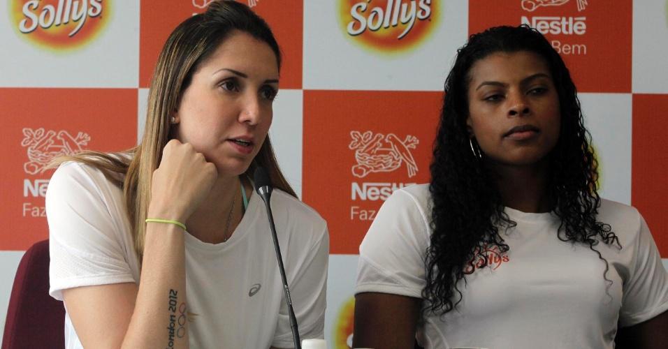 Thaísa e Fernanda Garay participam de entrevista coletiva na apresentação do Sollys/Nestlé