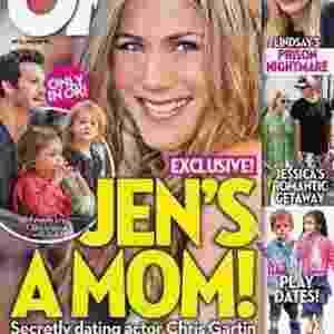 """A manchete da """"OK!"""" destacou """"Jen é mamãe"""", porém, ela apenas era a madastra dos filhos do namorado Chris Gartin - Reprodução/OK!"""