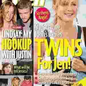"""A """"Star"""" também deu na capa que Aniston teria feito tratamentos para ficar grávida de gêmeos e que teria parado de beber - Reprodução/Star"""