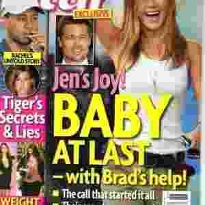 """Em dezembro de 2009, a """"Star"""" tinha como manchete uma possível gravidez de Jen com a ajuda de Brad Pitt. Por meio de um telefonema, a atriz teria convencido o ex, que já estava com Angelina Jolie, a fazer o tratamento de fertilidade com ela - Reprodução/Star"""