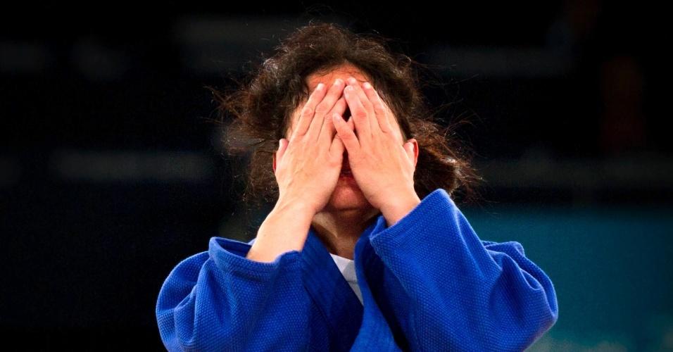 Judoca brasileira Karla Ferreira comemora a vitória sobre a chinesa Xiaoli Huang na categoria até 48kg dos Jogos Paraolímpicos de Londres