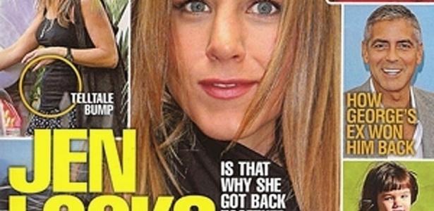O tabloide National Enquirer noticiou nesta quarta-feira (30) que Jennifer Aniston está grávida de seu noivo Justin Theroux. O possível primeiro filho da atriz já foi noticiado por diversas revistas de incontáveis formas. Nesta galeria, veja quantas vezes os tabloides