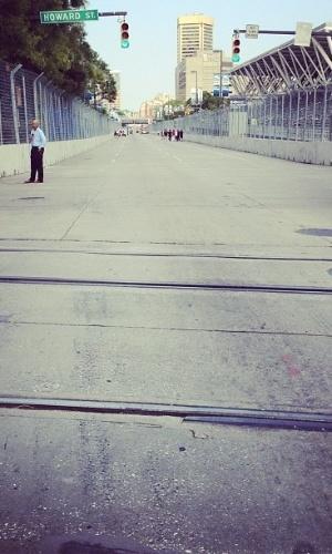 Rubens Barrichello publicou na internet foto de trecho da pista de Baltimore: