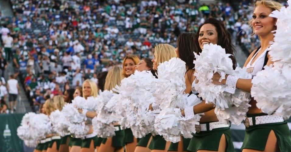 Cheerleaders do New York Jets durante partida na temporada 2011/2012