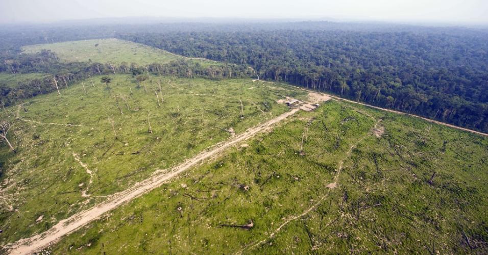 04.set.2012 - [foto de arquivo] Vista aérea mostra parte da floresta amazônica devastada no Pará