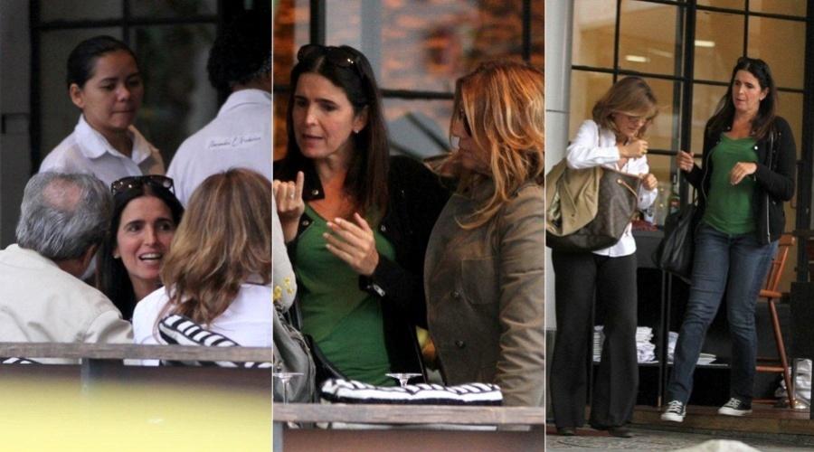 Malu Mader almoçou com amigos em um restaurante na zona sul do Rio (4/9/12)