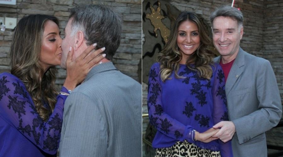 O empresário Eike Bastista prestigiou o lançamento do website de sua namorada, Flávia Sampaio (4/9/12)