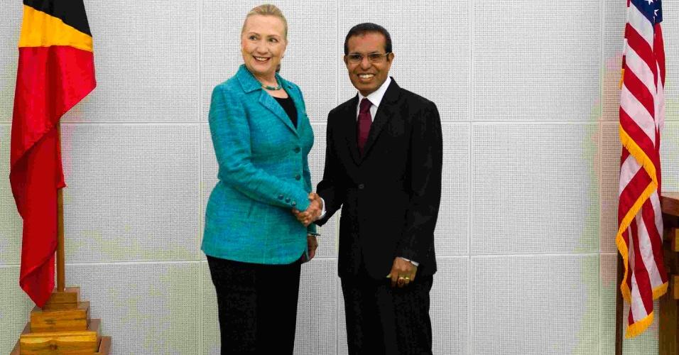 5.set.2012 -Em uma visita histórica, a secretária de Estado dos EUA, Hillary Clinton, aperta a mão do presidente do Timor Leste, Taur Matan Ruak, no Palácio Presidencial em Díli