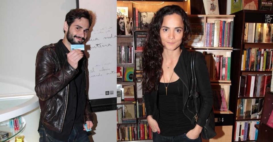 """Os integrantes do elenco de """"Por Uma Vida Inteira"""", Bruno Autran e Alice Braga, no lançamento do curta no cinema Reserva Cultural, em São Paulo (4/9/12)"""