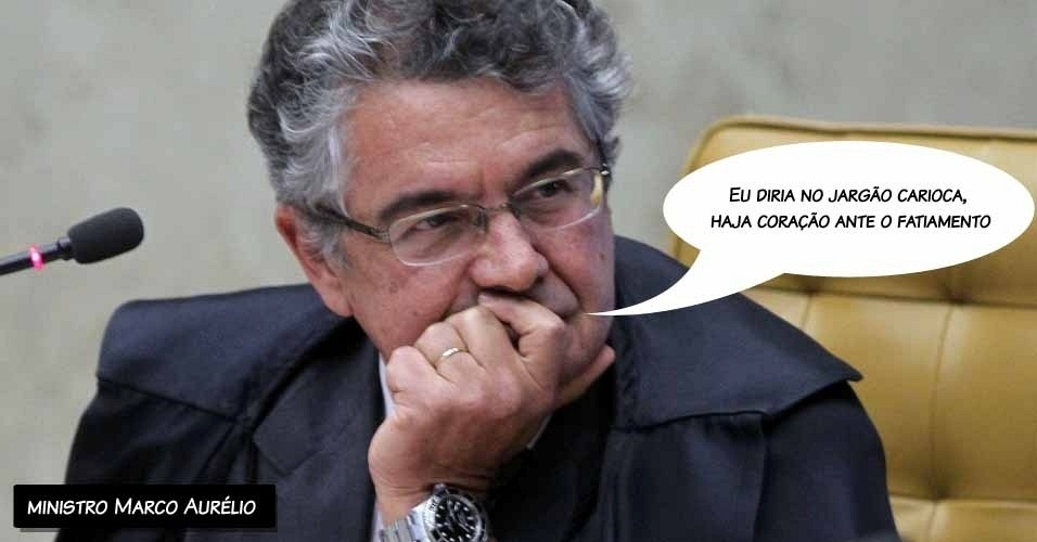 """6.set.2012 - """"Eu diria, no jargão carioca, haja coração ante o fatiamento"""", disse o ministro Marco Aurélio sobre a metodologia que está sendo seguida no julgamento do mensalão"""