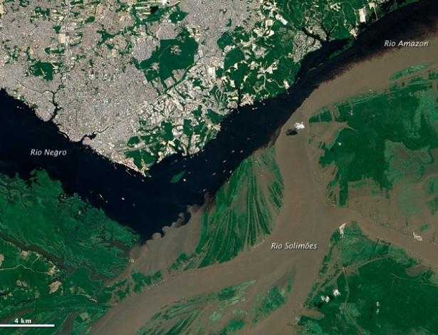 Brasil é destaque no site oficial da Nasa, nesta quinta-feira (6). As imagens de satélite  mostram a confluência entre os  rios  Negro e Solimões, no Amazonas
