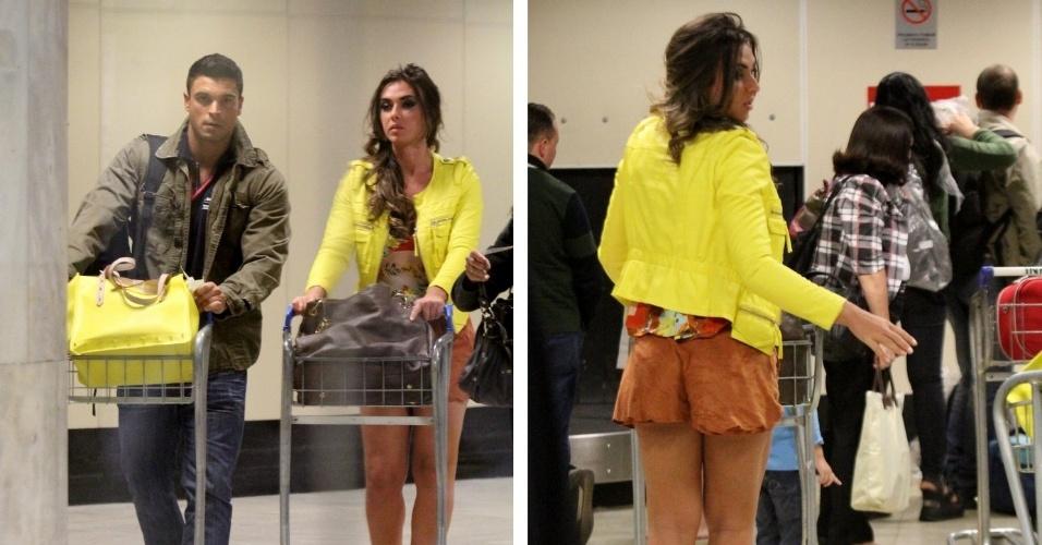 "Ex-integrantes de ""A Fazenda"", Nicole Balhs e Gustavo Salyer desembarcam no Aeroporto Santos Dumont (5/9/12)"